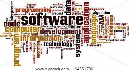 Software word cloud concept. Vector illustration on white
