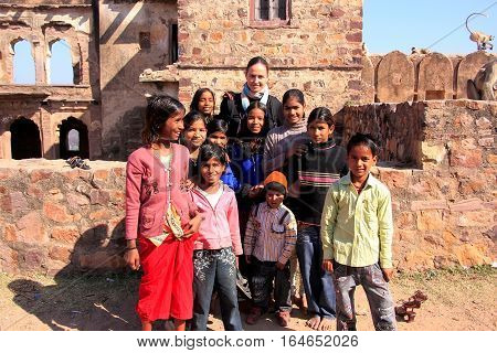Ranthambore, India - February 2: Unidentified Kids Play At Ranthambore Fort On February 2, 2011 In I