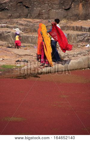 Ranthambore, India - February 2: Unidentified Women Stand By The Red Lake At Ranthambore Fort On Feb