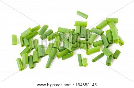 chopped chives isolated on a white background