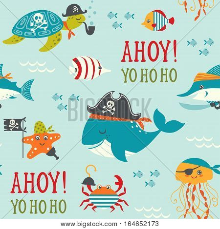 Seamless childish  pattern with cute underwater pirates.