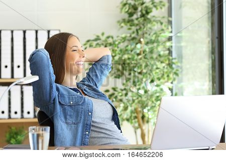 Side view of a satisfied entrepreneur with a new job looking through the window at office