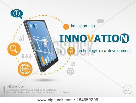 Innovation Word Cloud Concept And Realistic Smartphone Black Color.