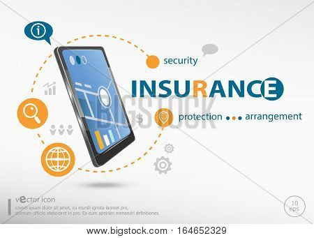 Insurance Protection Info Text And Realistic Smartphone Black Color.