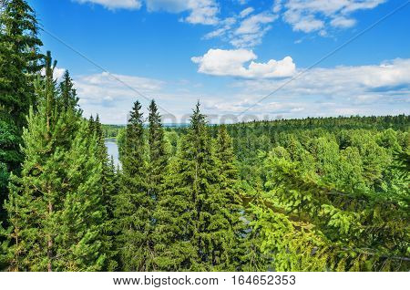 Ural nature. The view from the top of the mountain the forest and the river Chusovaya. Russia