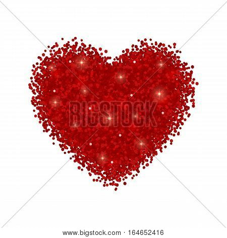 Heart red glitter. Isolated on white background. Vector illustration