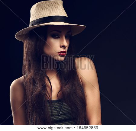 Beautiful Cool Serious Female Model With Long Hair Posing In Cowboy Summer Hat And Fashion Top On Da
