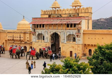 Amber, India - March 1: View Of Suraj Pol In Jaleb Chowk (main Courtyard) In Amber Fort On March 1,