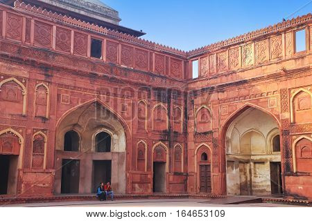 Agra, India - November 7: Courtyard Of Jahangiri Mahal In Agra Fort On November 7, 2014 In Agra, Ind