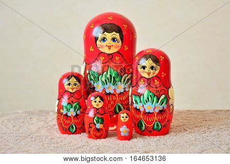 Matryoshka dolls group. Five Russian traditional wooden dolls.