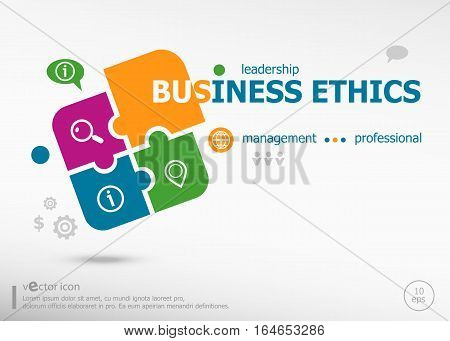 Business Ethics Word Cloud On Colorful Jigsaw Puzzle.