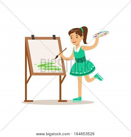 Girl Painting, Creative Child Practicing Arts In Art Class, Kids And Creativity Themed Illustration. Flat Cartoon Vector Character Demonstrating Creative Skills And Talents.