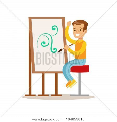 Boy Drawing, Creative Child Practicing Arts In Art Class, Kids And Creativity Themed Illustration. Flat Cartoon Vector Character Demonstrating Creative Skills And Talents.