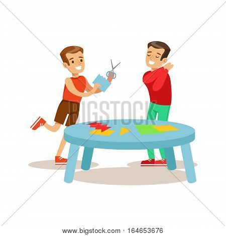 Boys Making Applique, Creative Child Practicing Arts In Art Class, Kids And Creativity Themed Illustration. Flat Cartoon Vector Character Demonstrating Creative Skills And Talents.