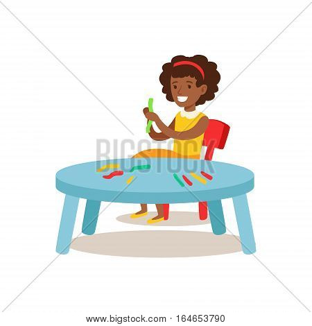 Girl Sculpting Putty, Creative Child Practicing Arts In Art Class, Kids And Creativity Themed Illustration. Flat Cartoon Vector Character Demonstrating Creative Skills And Talents.