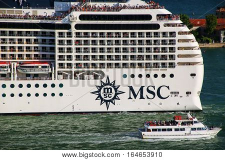 Venice, Italy - June 21: Detail Of Msc Cruise Ship Moving Through San Marco Canal On June 21, 2015 I