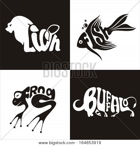 illustration vector logo animals lion buffalo frogs fish on black and white background
