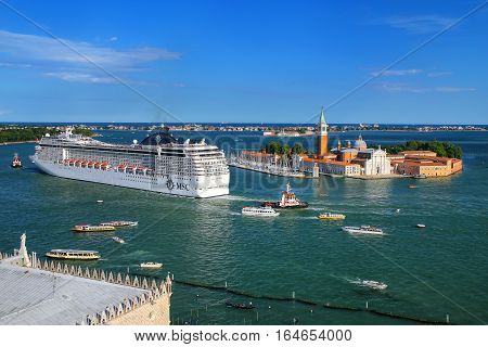Venice, Italy - June 21: Cruise Ship Moving Through San Marco Canal On June 21, 2015 In Venice, Ital