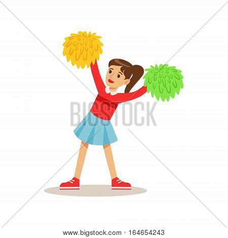 Girl Cheerleader, Creative Child Practicing Arts In Art Class, Kids And Creativity Themed Illustration. Flat Cartoon Vector Character Demonstrating Creative Skills And Talents.