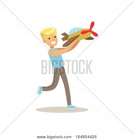 Boy And Plane Model, Creative Child Practicing Arts In Art Class, Kids And Creativity Themed Illustration. Flat Cartoon Vector Character Demonstrating Creative Skills And Talents.