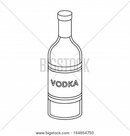 Glass bottle of vodka icon in outline design isolated on white background. Russian country symbol stock vector illustration.