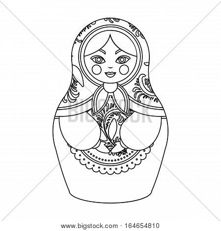 Russian matrioshka icon in outline design isolated on white background. Russian country symbol stock vector illustration.