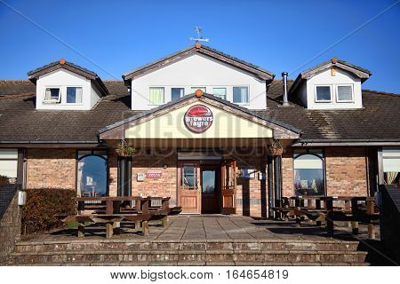 Llanelli, Wales, UK, December 4, 2016 : Brewers Fayre British pub food restaurant in Sandpiper Road outside the city centre