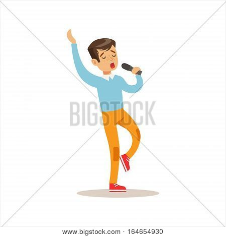 Boy Singing, Creative Child Practicing Arts In Art Class, Kids And Creativity Themed Illustration. Flat Cartoon Vector Character Demonstrating Creative Skills And Talents.