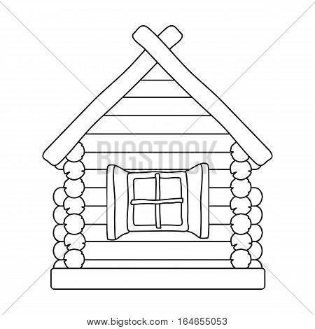Wooden house icon in outline design isolated on white background. Russian country symbol stock vector illustration.