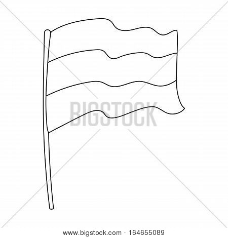 Russian flag icon in outline design isolated on white background. Russian country symbol stock vector illustration.