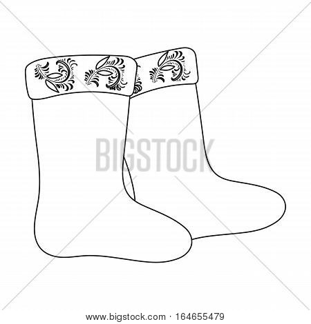 Winter felt boots icon in outline design isolated on white background. Russian country symbol stock vector illustration.
