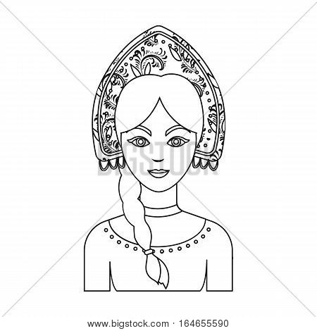 Russian woman in traditional suit icon in outline design isolated on white background. Russian country symbol stock vector illustration.