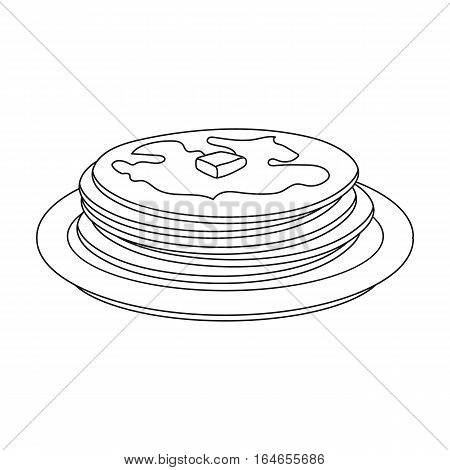 Russian pancakes icon in outline design isolated on white background. Russian country symbol stock vector illustration.