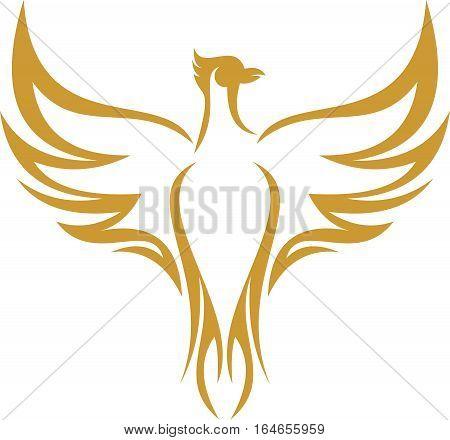 logo illustration gold animal eagle bird flying
