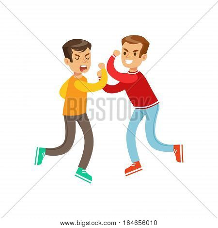 Two Equal Size Boys Fist Fight Positions, Aggressive Bully In Long Sleeve Red Top Fighting Another Kid Who Is Weaker But Is Fighting Back. Flat Vector Teenage Aggression And Conflict Resulting In Street Fight Illustration.