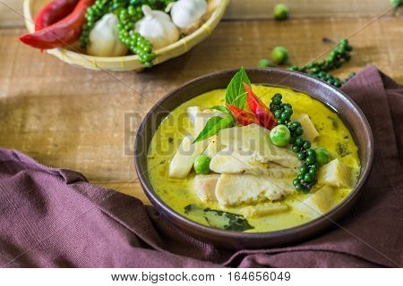 Spicy Hot Chicken Green Curry With Coconut Milk Soup
