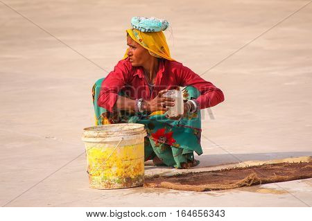 Amber, India - November 13: Unidentified Woman Works In The Second Courtyard Of Amber Fort On Novemb