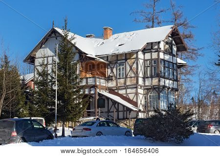 One of the old half-timbered hotels in the Stary Smokovec. Is a popular resort for skiing and hiking in the Slovakia. Located in the mountains of the High Tatras at an altitude of 990 meters a.s.l.