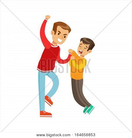 Two Boys Fist Fight Positions, Aggressive Bully In Long Sleeve Red Top Fighting Another Kid Who Smaller And Weaker. Flat Vector Teenage Aggression And Conflict Resulting In Street Fight Illustration.