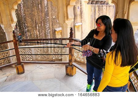 Amber, India - November 13: Unidentified Women Take Selfie In Amber Fort On November 13, 2014 In Amb