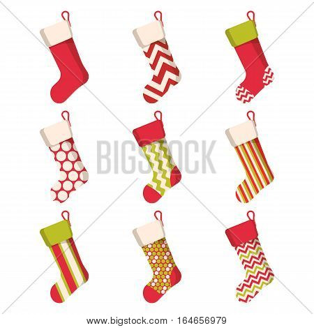 Christmas stocking set isolated on white background. Holiday Santa Claus winter socks for gifts. Cartoon decorated present sock. Graphic illustration
