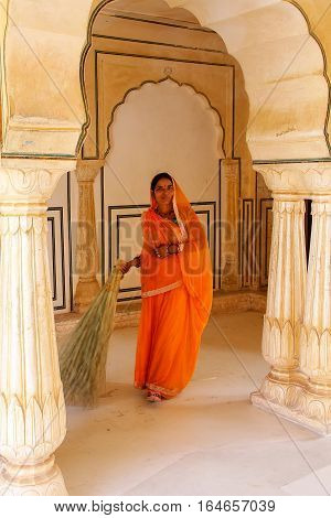 Amber, India - November 13: Unidentified Woman Sweeps In Sattais Katcheri Hall In Amber Fort On Nove
