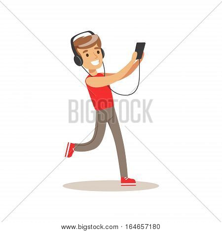 Boy With Headphones And Music Player, Child And Gadget Illustration With Kid Watching And Playing Using Electronic Device. Teenager Technology Addict Cartoon Vector Character Smiling And Enjoying His Pastime.