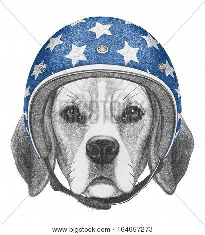 Portrait of Beagle with Helmet. Hand drawn illustration.
