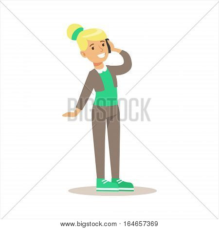 Girl Talking On Cell Phone, Child And Gadget Illustration With Kid Watching And Playing Using Electronic Device. Teenager Technology Addict Cartoon Vector Character Smiling And Enjoying His Pastime.