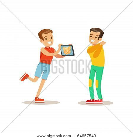 Boy Showing Tablet To Friend, Child And Gadget Illustration With Kid Watching And Playing Using Electronic Device. Teenager Technology Addict Cartoon Vector Character Smiling And Enjoying His Pastime.