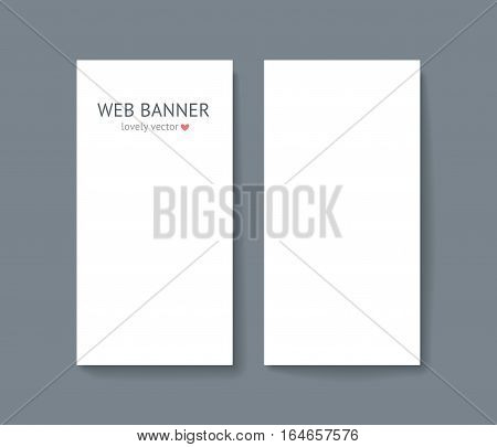 Vertical web banner set. Paper card mock up with shadow isolated on dark gray background, business roll up banner. Template for designer portfolio presentation, business identity