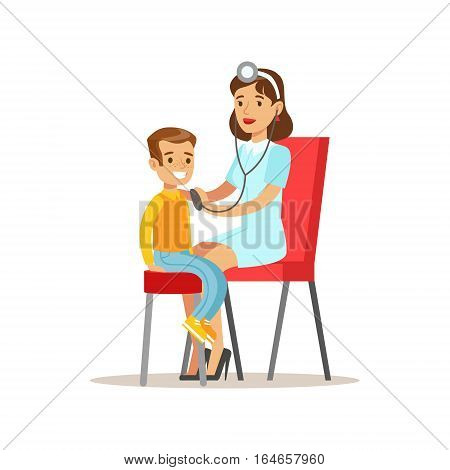 Kid On Medical Check-Up With Female Pediatrician Doctor Doing Physical Sthetoscope Examination For The Pre-School Health Inspection. Young Child On Medical Appointment Checking General Physical Condition Illustration.