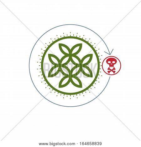 Life And Death Conceptual Logo, Unique Vector Symbol. Life Flower Symbol And Skull With Bones Combin