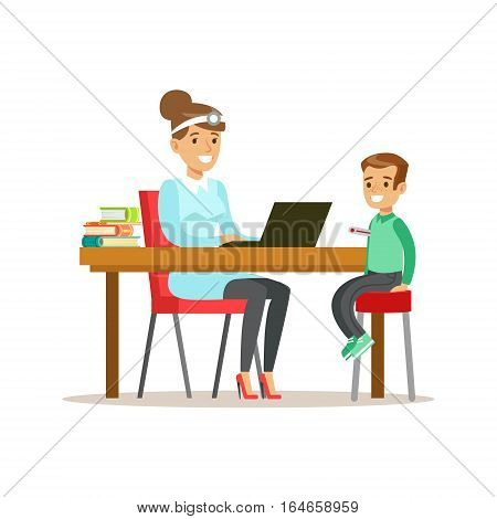 Kid On Medical Check-Up With Female Pediatrician Doctor Doing Physical Examination Checking Boy Temperature For The Pre-School Health Inspection. Young Child On Medical Appointment Checking General Physical Condition Illustration.
